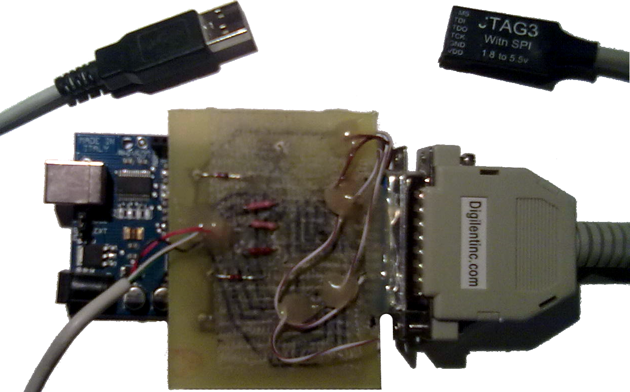 FUJI provides an interface between a USB port and the 25-pin D-sub parallel  port interface of Digilent Inc. (JTAG3), because it's distributed for free  with ...